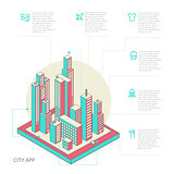 infographic made of colorful buildings
