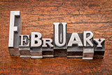 February word in metal type