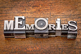 memories word in metal type