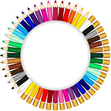 Colored pencils forming a round frame