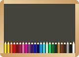 School board with colored pencils