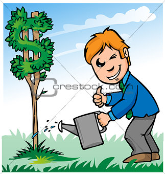 business man cartoon watering dollar tree