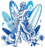 poseidon surfer on surfboard background