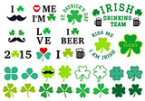 St Patrick's day, clover set, vector