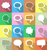 Colorful speech and thought bubbles