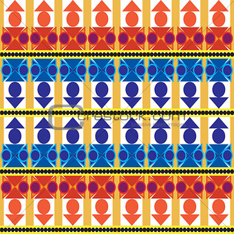Aztec tribal seamless pattern with blue forms over white backgro
