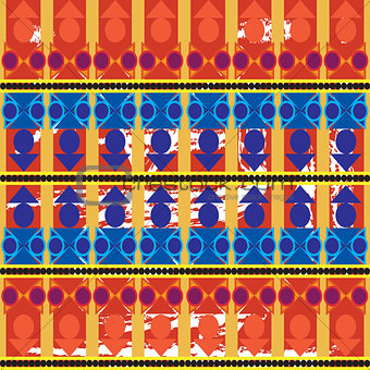 Aztec tribal seamless pattern with blue forms over orange brushe