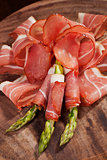 Prosciutto and asparagus.