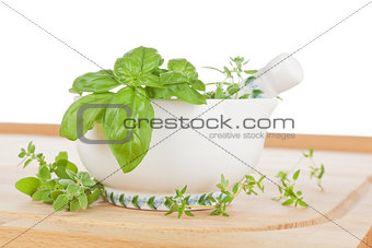 Fresh cooking herbs.
