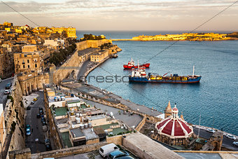 Aerial View on Valletta and Grand Harbour from Barrakka Gerdens,