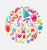 Festive banner with carnival colorful icons