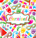 Festive card with carnival and party colorful icons and objects