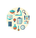 Concept of management  medical science research, set flat icons
