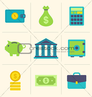 Flat icons of financial and business items