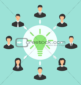 Group of business people gather together, process of generating