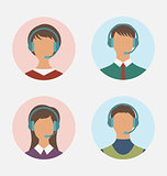 Icons of call center operator with man and woman are featureless