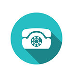 Web icon of retro telephone, trendy flat minimal style