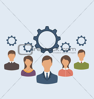 Business people with cogwheels, business teamwork