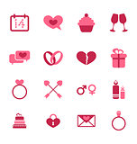 Trendy flat icons for Valentines Day, design elements, isolated