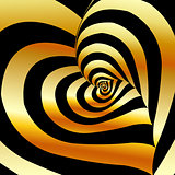 Artistic background with golden hearts