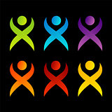 Abstract people- colorful people isolated logos