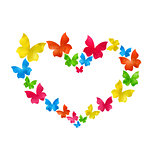 Abstract hand-drawn watercolor butterflies for Valentines Day, c