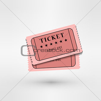pair of cinema tickets on white