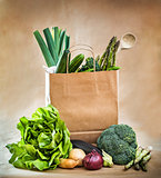 vegetables in paper bag