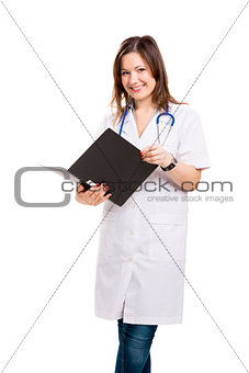 Beautiful young veterinary holding a folder, isolated over white