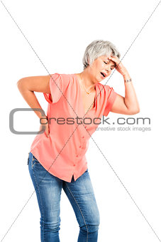 Old woman with a back pain