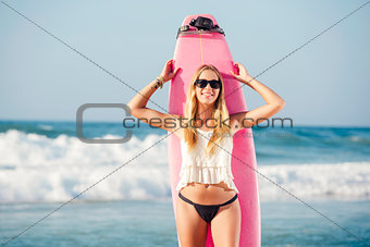 Blonde surfer Girl