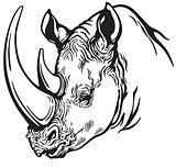head of rhino black and white