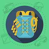 Flat design vector illustration for rock climbing. Rucksack