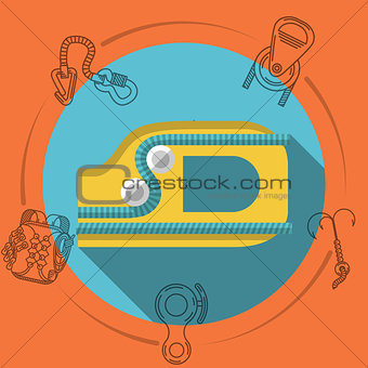 Flat design vector illustration for rock climbing. Ascender