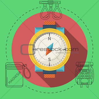 Flat design vector illustration for rock climbing. Compass