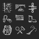 White line vector icons for rock climbing outfit