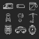 White line vector icons for mountaineering outfit