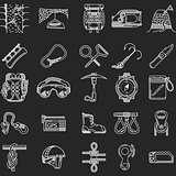 Line icons vector collection for rock climbing