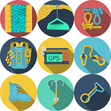 Flat vector icons for climbing equipment