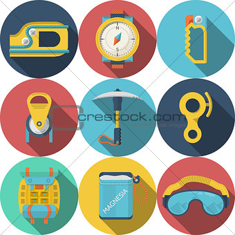 Flat colored vector icons for rock climbing