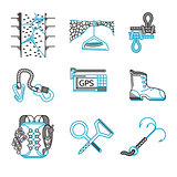 Flat line vector icons for rappelling equipment