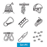 Set of black line vector icons for rock climbing