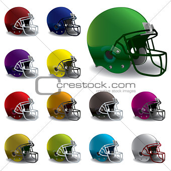 American Football Helmets Illustration