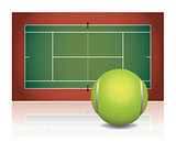 Realistic Tennis Court Illustration with Ball