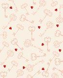 Seamless hearts and key pattern