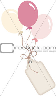 Cute pink balloons with label tag