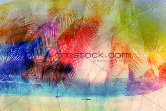 watercolor retro palm