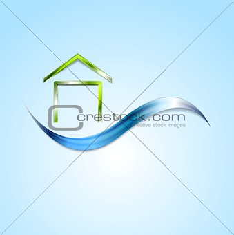 Bright house logo and wave design