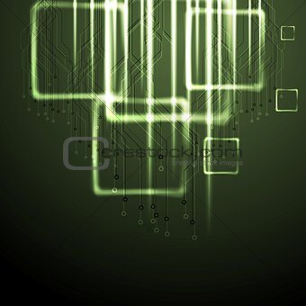 Green shiny technology background
