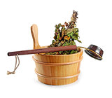 sauna accessories - bucket with birch broom and ladle, isolated